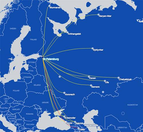 Nordavia route map