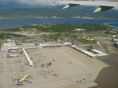 Aerial view of Norman Manley International Airport Kingston Jamaica