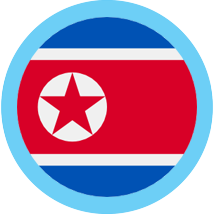 North Korean won round flag blue border