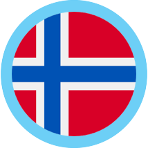 Norway round flag blue border