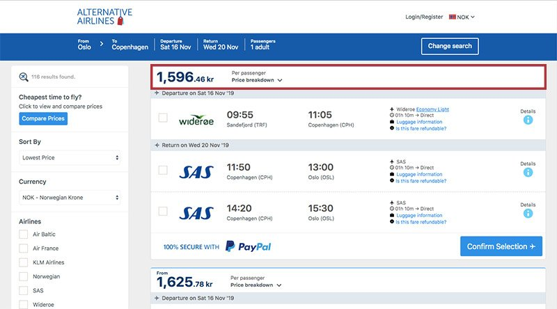 Alternative Airlines Norwegian krone search results page