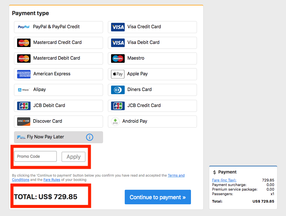 Instructions on how to pay for flights with codes