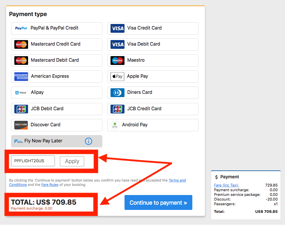 Instructions on how to pay for flights online with codes