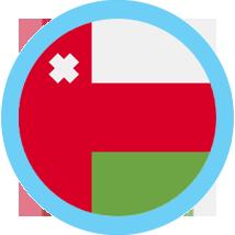 Oman round flag blue border