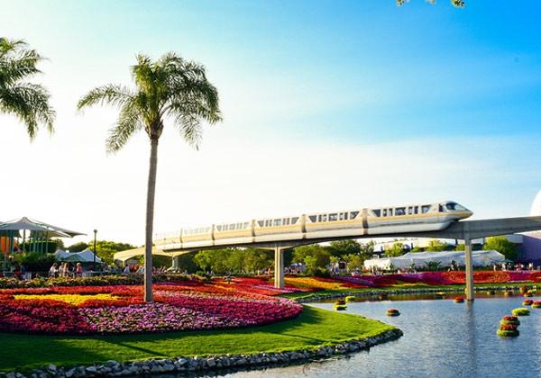 Train driving near Orlando Disney World Theme Park