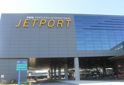 Outside the front of Portland International Jetport