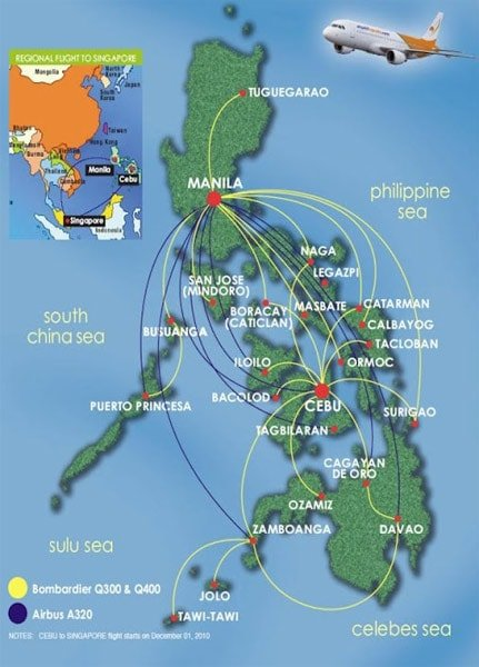 PAL Express Route Map, showing all domestic routes operated by both the Airbus and Bombardier