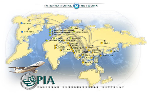 Pakistan International Airlines Route Map