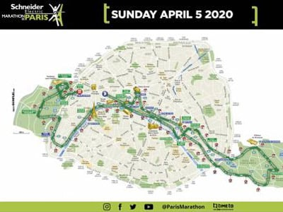 paris marathon route map 2020