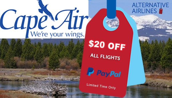 Image of lake and trees with cape air text and $20 off text overlaid