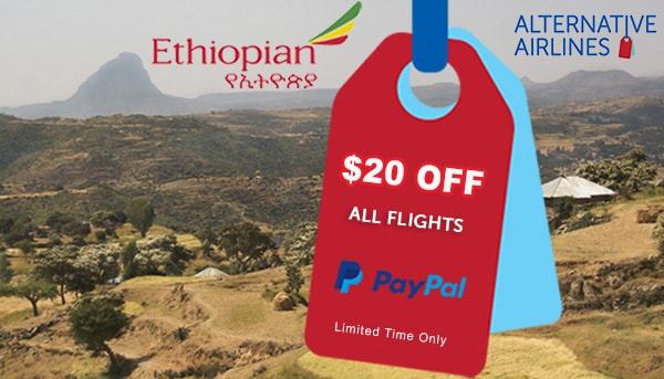 Image of mountainous landscape with ethopian airways text and logo overlaid