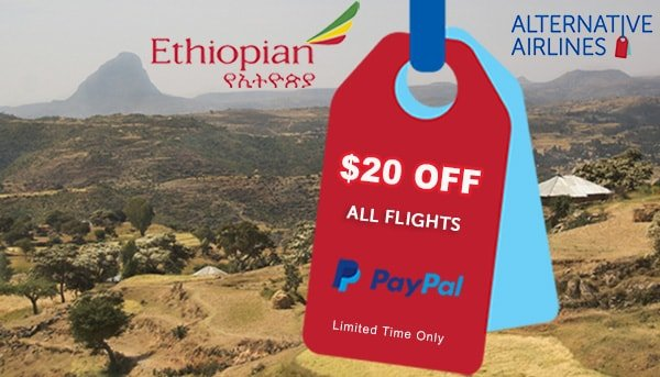 Image of mountainous landscape with ethiopian airways text and logo overlaid