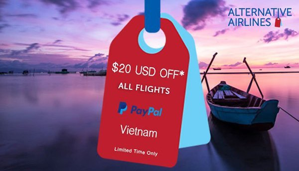 Image of purple sky and sea with suitcase tags in red and blue and text overlaid