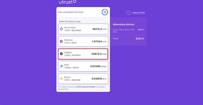 Alternative Airlines UTRUST Payment DigiByte Selected