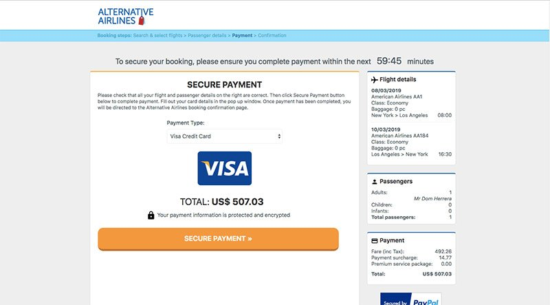 Payment Page Visa Credit Card - Alternative Airlines