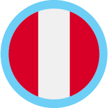 Peru round flag blue border