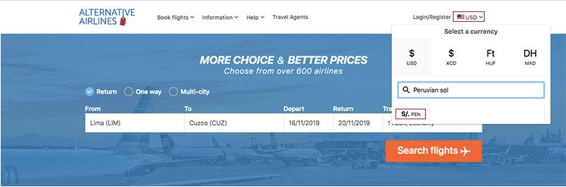 step by step guide showing how to use Peruvian sol to buy airline tickets