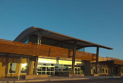 Outside the front of Phoenix Mesa Gateway Airport