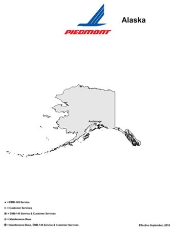 piedmont airlines alaskan route map