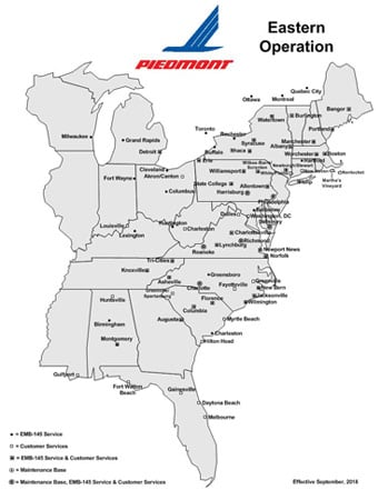 Piedmont Airlines Eastern USA route map