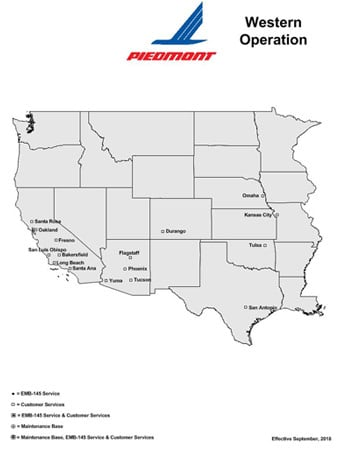 Piedmont Airlines Western USA route map