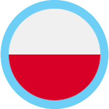 Polish zloty round flag blue border
