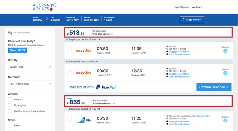 Alternative Airlines Polish zloty search results page