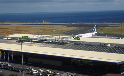 Outside the front of Ponta Delgada Airport