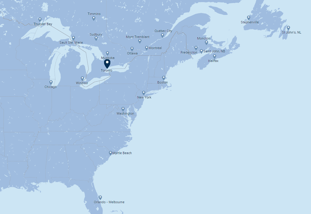 Porter Airliner Route Map