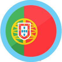 Portugal flag round blue border