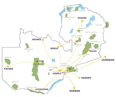 Proflight Zambia domestic and international route map