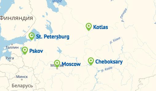 Pskovavia Route Map
