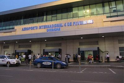 Outside the front of Quatro de Fevereiro Airport