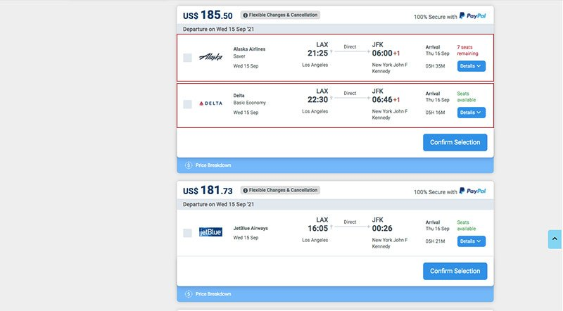 Alternative Airlines search results with red eye flights filter on