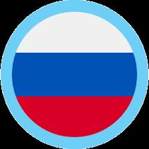 Russian flag round blue border
