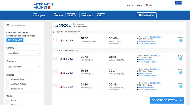 Alternative Airlines flight search results page LAX–JFK 12/10/19–14/10/19