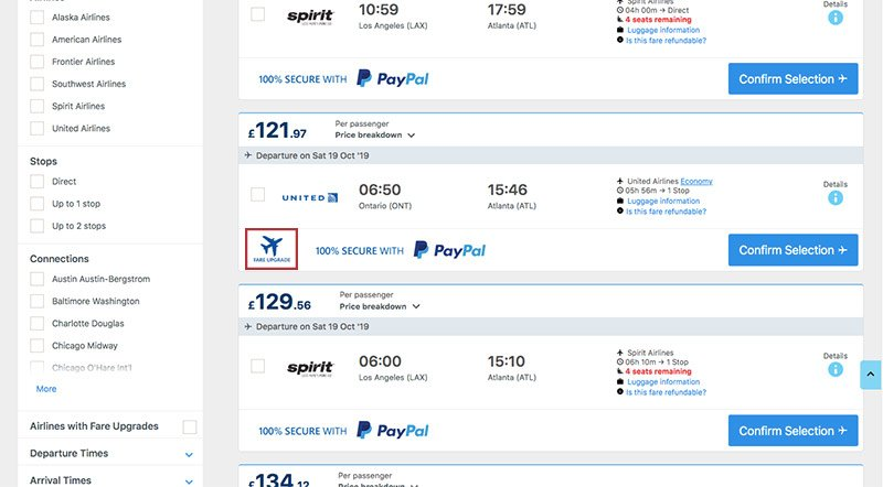 Alternative Airlines search results ONT–ATL 19.10.19
