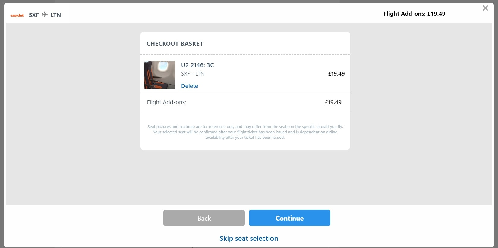 Step 5 Confirm Seat Booking at checkout
