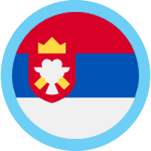 Serbia round blue border