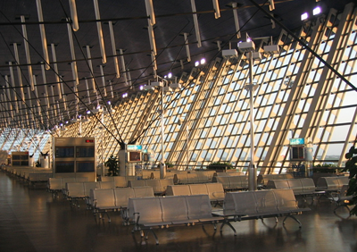 Shanghai Pudong International Airport terminal seating, demonstrating the modern interior design of the airport