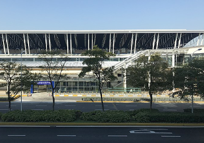 Shanghai Pudong International Airport exterior, showing entrance to airport