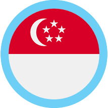 Singapore round flag blue border