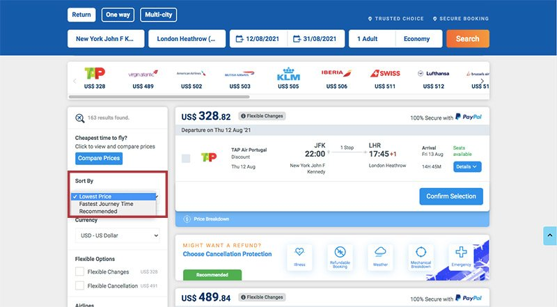 Sort by cheapest flight filter on Alternative Airlines search results (JFK-LHR)