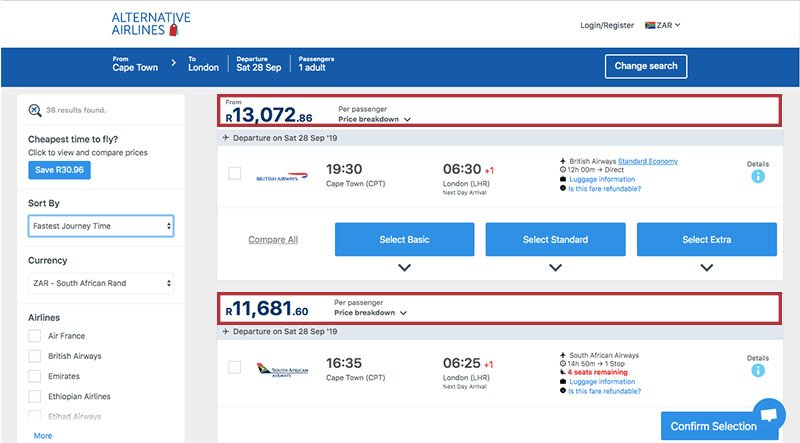 Alternative Airlines South African rand search results page
