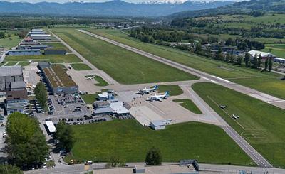 Birds eye view of St.Gallen Altenrhein Airport