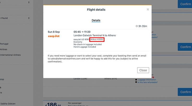 Step 3 flight details including aircraft details