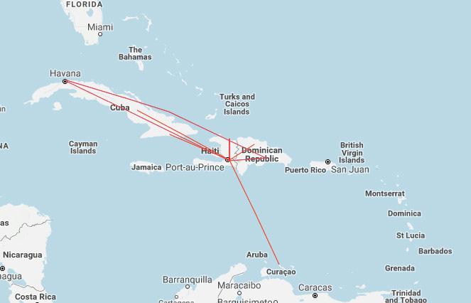 Sunrise Airways route map