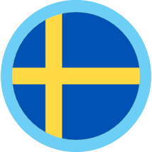 Sweden round flag blue border