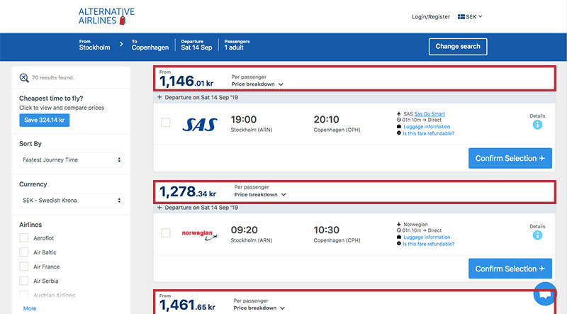 Alternative Airlines Swedish krona search results page