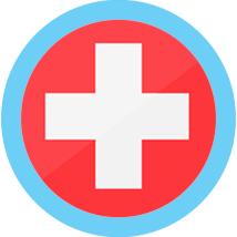Swiss round flag blue border